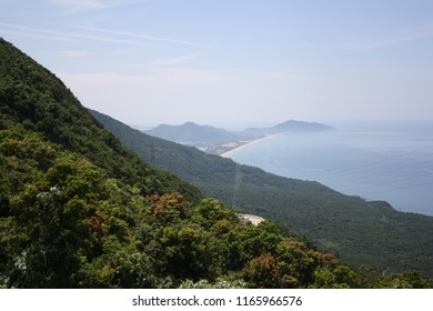 A view of the ocean from a mountainside in Vietnam