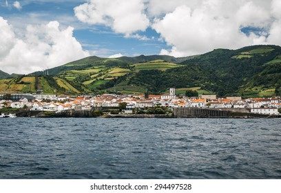 View from the ocean on Vila Franca do Campo -  town and municipality in the southern part of the island of Sao Miguel in the Portuguese Autonomous Region of the Azores.