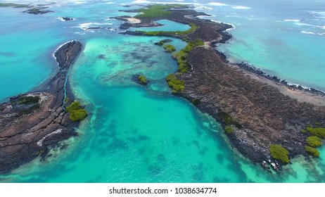 View of the ocean and the small islands of the Galapagos