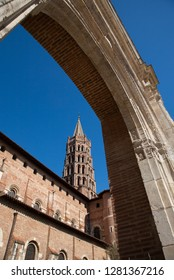 View of the octagonal tower of the Romanesque Basilica of San Sernin in Toulouse