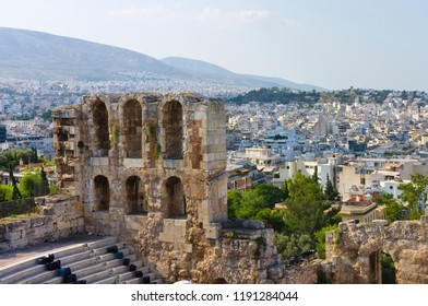 View Odeon Theater, Temple of Parthenon and City Modern Athens