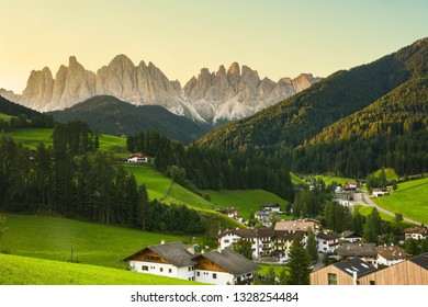 A view of Odle mountain with Funes valley, Dolomites, South Tyrol, Italy