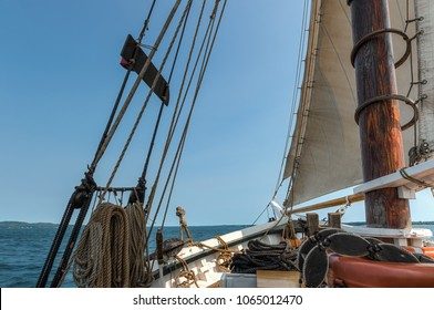 View Off Bow of 101 Year Old Wooden Schooner - historic boat