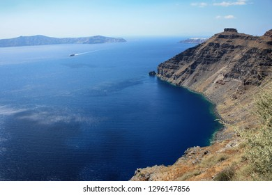 View off the coast of Santorin and the Aegean Sea in Greece