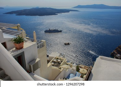 View off the coast of Santorini, the city of Tira and the Aegean Sea in Greece