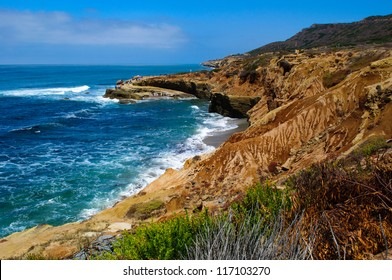 View off the coastline in Cabrillo National Monument in San Diego, California.