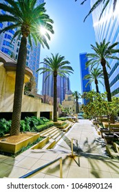 View of the office buildings in the financial district in Los Angeles on a sunny day.