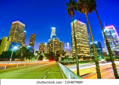 View of the office buildings and main roads in the financial district in Los Angeles at night.