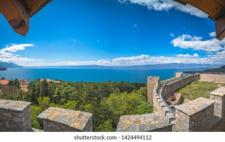 View of the Ohrid Lake as seen from the castle Samuil, Republic Of Macedonia