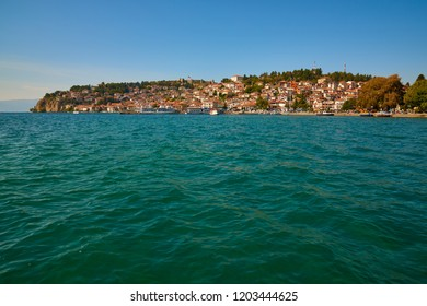 A view from the Ohrid lake towards Ohrid city and pier - Macedonia. Holiday concept