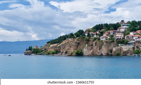 View of Ohrid town and the Chuch of St John at Kaneo from the middle of Lake Ohrid