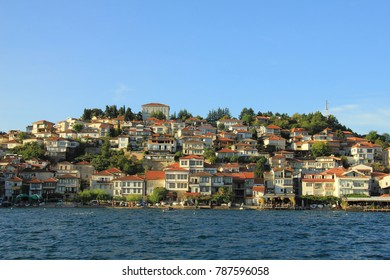 The view of Ohrid town from Ohrid Lake in Macedonia.