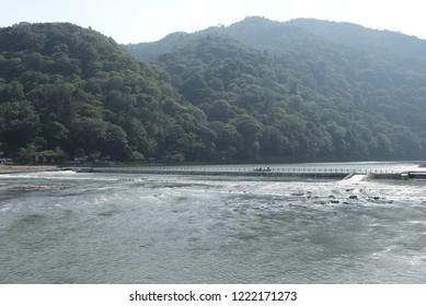 View of Oi river in Arashiyama, Japan.