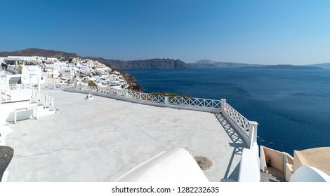 View of Oia panorama - Santorini Cyclades Island - Aegean sea - Greece