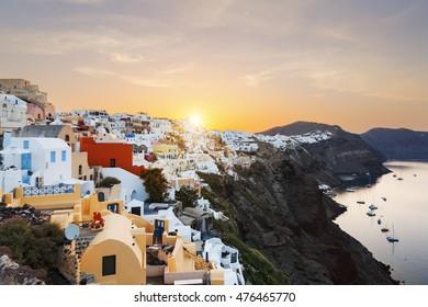 View of Oia at sunrise, Santorini