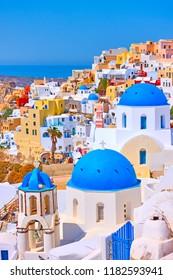 View of Oia town in Santorini, Greece - Greek landscape