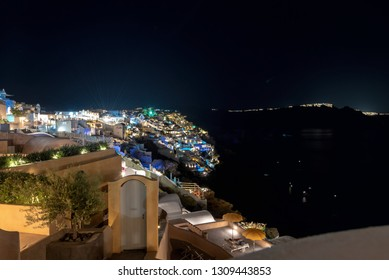 View of Oia village by night - Aegean sea - Santorini island - Greece