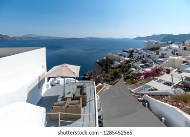 View of Oia village - Santorini Cyclades Island - Aegean sea - Greece