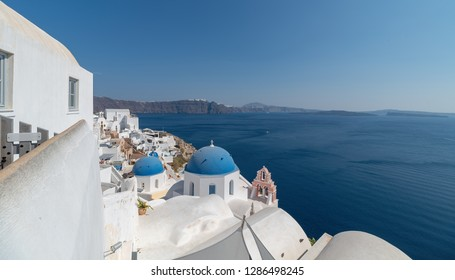 View of Oia village - Santorini Cyclades Island - Aegean sea - Greece