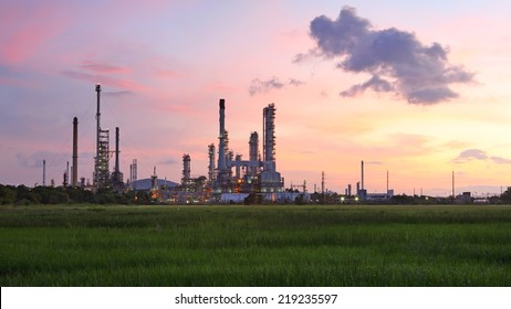 View of oil refinery factory at sunrise
