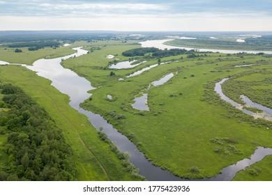 View of the Oka river floodwaters near the village of Podvyazye in the Nizhny Novgorod region