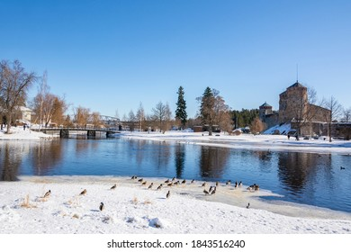 View to Olavinlinna Castle and lake from the shore in winter, Savonlinna, Finland