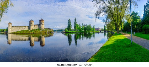 View of the Olavinlinna castle, in Savonlinna, Finland. It is a 15th-century three-tower castle