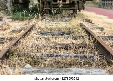View of old and abandoned railway line train, in Viseu, Portugal...