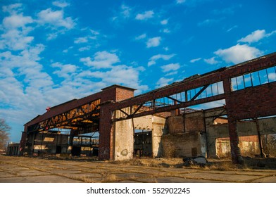 View of the old aircraft hangars in Russia, Baltysk