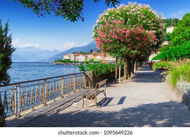 View of old Bellagio town and path along beautiful Como lake, Italy. Nature scenery. Como lake postcard.