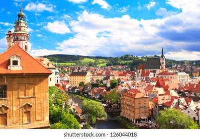 View of old Bohemian city Cesky Krumlov, Czech Republic