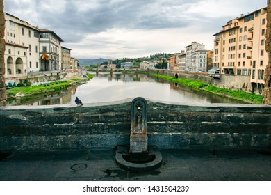 View from Old bridge Ponte Vecchio over the river Arno in Florance, Tuscany, Italy. April 2012