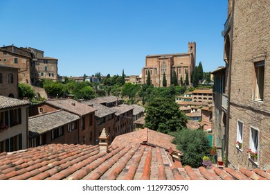 View of old buildings cityscape of Siena, Italy.