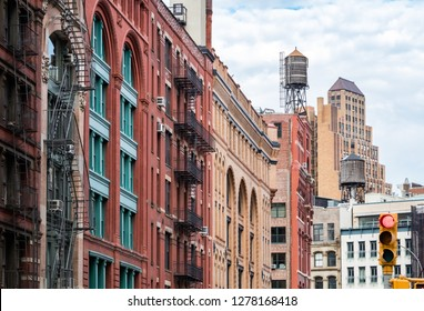 View of the old buildings on Franklin Street in the Tribeca neighborhood of Manhattan, New York City NYC
