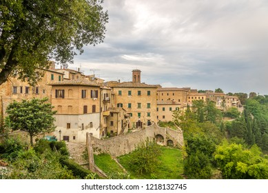 View at the old buildings in Volterra, Italy