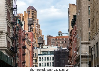 View of the old buildings and water towers in the Tribeca neighborhood of Manhattan, New York City NYC