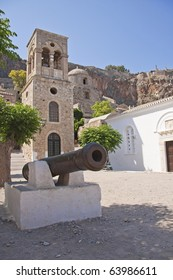 View of old church on the square in Monemvasia, Peloponnesus, Greece