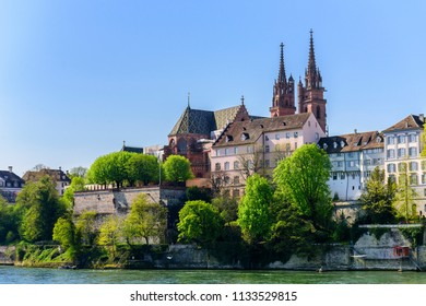 View of the old city and the Basel Minster cathedral . Basel, Switzerland