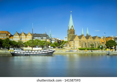 View of the old city of Bremen across the river, Germany