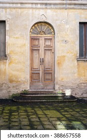 View of the old city centre houses facade in Varzi (Pavia), a little town in the winery hilly region of Oltrepo Pavese (Lombardy, Northern Italy). Color image.