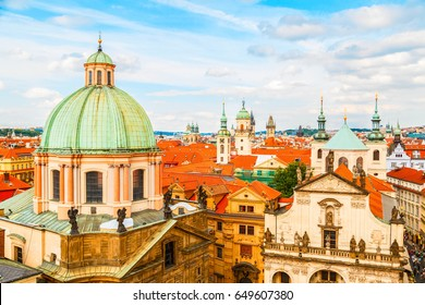View of old city with The Church of St. Francis, Klementinum, Prague, Czech Republic
