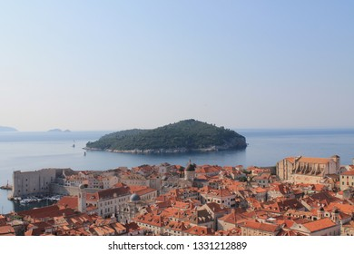 View of the old city of Dubrovnik Croatia and the island of Lokrum