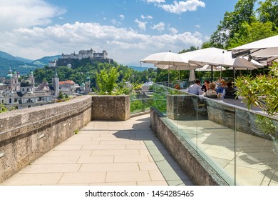 View of The Old City and Hohensalzburg Castle from hilltop restaurant, Salzburg, Austria, Europe 1-6-2919