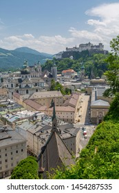 View of The Old City and Hohensalzburg Castle to the right, Salzburg, Austria, Europe 1-6-2019