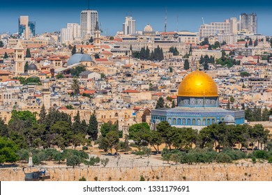 View of the Old city of Jerusalem including the Dome of the Rock mosque, taken from the Mount of Olives, Jerusalem, Israel.