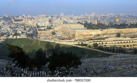 View at old city of Jerusalem and its most recognizable landmark-Dome of the rock mosque, one of the oldest existing works of islamic architecture. Listed on the UNESCO World heritage list