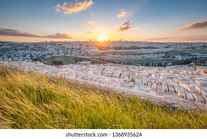 A view of the old city of Jerusalem from the Mount of Olives at sunset.