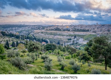 A view of the old city of Jerusalem from the Mount of Olives