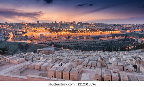 A view of the old city of Jerusalem taken from the mount of olives.