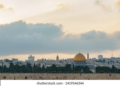 View of old city of jerusalem, temple mount, Mousque of Al-aqsa , Dome of the Rock (or golden dome) from mount of olives in Jerusalem in Israel palestine